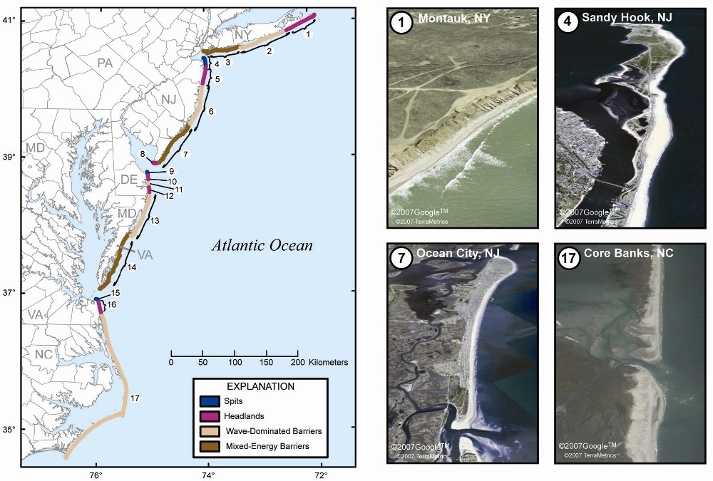 Map of the mid-Atlantic coast of the United States showing the occurrence of the four coastal landform, and pictures of those types.