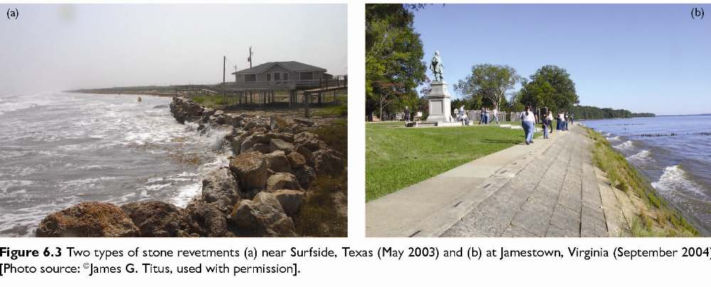 Figure 6.3 Two types of stone revetments (a) near Surfside, Texas (May 2003) and 