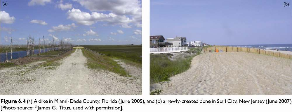 Figure 6.4 (a) A dike in Miami-Dade County, Florida (June 2005), and (b) a newly-created dune in Surf City, New Jersey (June 2007) [Photo source: �James G. Titus, used with permission].