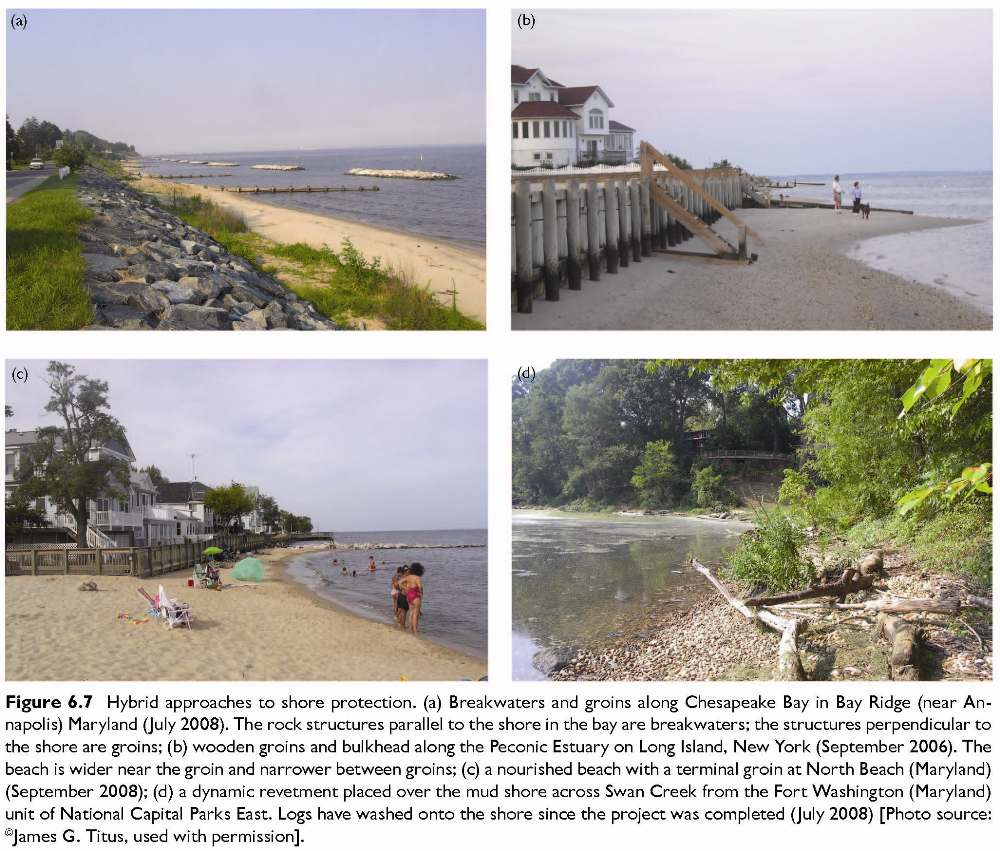 Figure 6.7 Hybrid approaches to shore protection. (a) Breakwaters and groins along Chesapeake Bay in Bay Ridge (near Annapolis) Maryland (July 2008). The rock structures parallel to the shore in the bay are breakwaters; the structures perpendicular to the shore are groins; (b) wooden groins and bulkhead along the Peconic Estuary on Long Island, New York (September 2006). The beach is wider near the groin and narrower between groins; (c) a nourished beach with a terminal groin at North Beach (Maryland) (September 2008); (d) a dynamic revetment placed over the mud shore across Swan Creek from the Fort Washington (Maryland) unit of National Capital Parks East. Logs have washed onto the shore since the project was completed (July 2008) [Photo source: ©James G. Titus, used with permission].