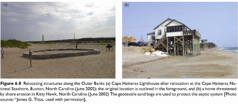 Figure 6.8 Relocating structures along the Outer Banks (a) Cape Hatteras Lighthouse after relocation at the Cape Hatteras National Seashore, Buxton, North Carolina (June 2002); the original location is outlined in the foreground, and (b) a home threatened by shore erosion in Kitty Hawk, North Carolina (June 2002) The geotextile sand bags are used to protect the septic system [Photo source: ©James G. Titus, used with permission].