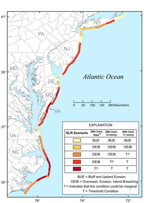 Summary graphic for Chapter 3:  The response of barrier islands and other coastal landforms to rising sea level